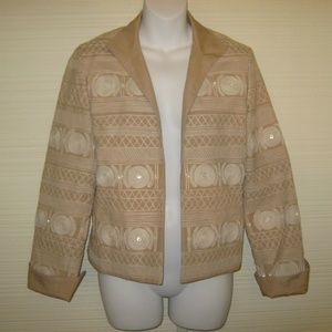 Anne Klein Tan Embellished Jacket Blazer 6